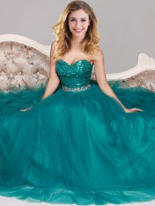 Ideal Sequins Sweetheart Sleeveless Zipper Pageant Dress Toddler Peacock Green Tulle