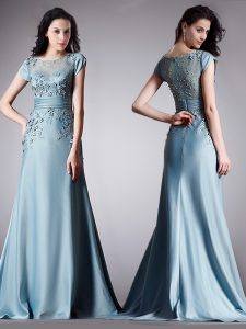 Scoop Light Blue Cap Sleeves Floor Length Appliques Zipper Pageant Gowns