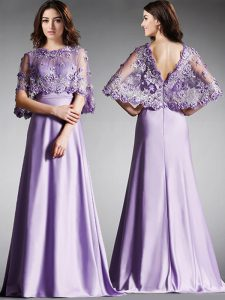 Simple Scoop Half Sleeves Satin Floor Length Zipper Pageant Gowns in Lavender with Lace