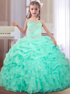 Sweet Straps Apple Green Organza Lace Up Pageant Dress Wholesale Sleeveless Floor Length Beading and Ruffles and Pick Ups