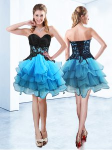 Fine Blue And Black Sleeveless Ruffled Layers Mini Length High School Pageant Dress