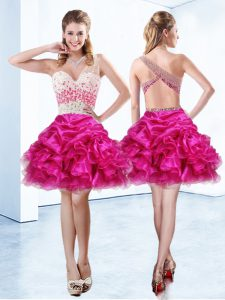 Sexy One Shoulder Pick Ups Fuchsia Sleeveless Organza Criss Cross Glitz Pageant Dress for Prom and Party