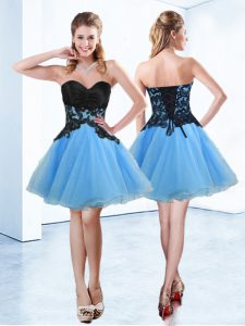 Blue And Black Sleeveless Mini Length Appliques Lace Up Pageant Dress Wholesale