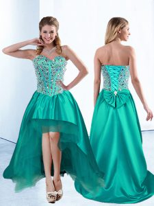 Affordable High Low Lace Up Pageant Dress Wholesale Teal for Prom and Party with Beading and Bowknot