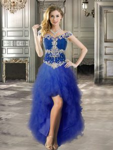 Sexy Tulle Off The Shoulder Cap Sleeves Lace Up Beading and Ruffles Winning Pageant Gowns in Royal Blue