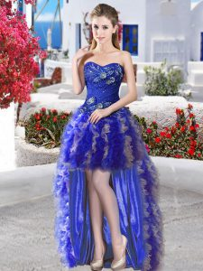 Royal Blue Sweetheart Neckline Appliques and Ruffles Pageant Dress Womens Sleeveless Lace Up