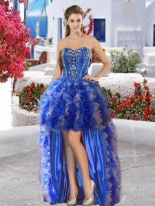 Perfect Sweetheart Sleeveless High School Pageant Dress High Low Appliques and Ruffles Royal Blue Organza